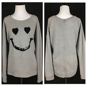 Rebellious One Sequins Smiley Face Sweatshirt L